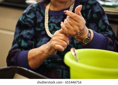 hands making food