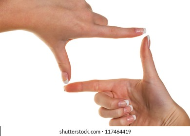 hands making a frame with her fingers. symbolic photo for bigotry and perspective