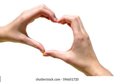 Hands making heart shape isolated o white