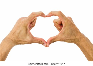 Hands making heart shaped sign isolated on white background