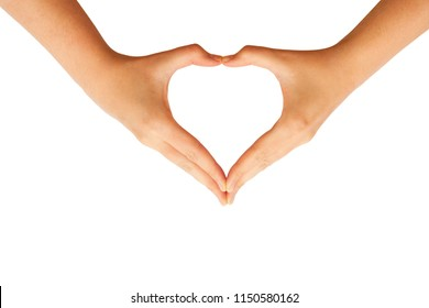 Hands making heart sign isolated on white background