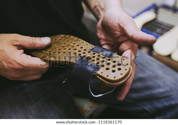 Hands Making Shoes Making Shoes Manual Stock Photo (Edit Now) 1118361170