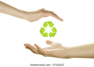 Hands male and female symbol of protection utilization. Environmental Protection