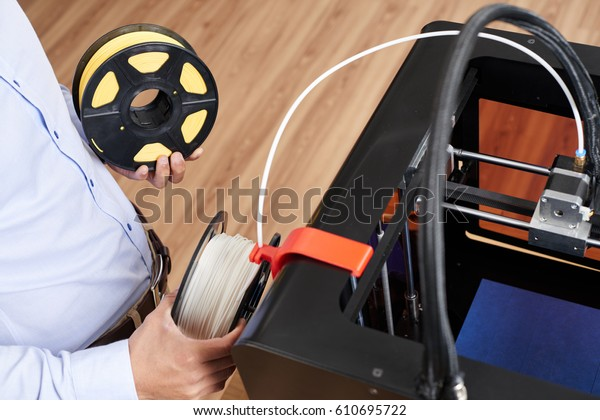Hands Man Changing Filament 3d Printer Stock Photo (Edit Now