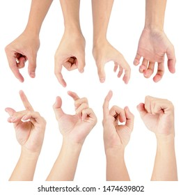 hands of man in collection set with gesture for fight isolated on white background