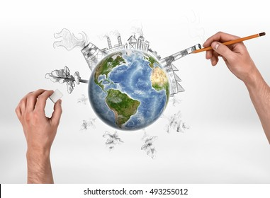 Hands of man drawing a factory and erasing trees on the globe. Deforestation. Depletion of natural resources. Urbanization. Harmful emissions. Elements of this image are furnished by NASA