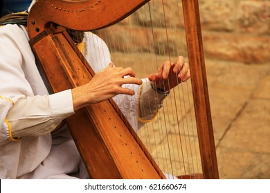 Hands of a man playing on an old harp