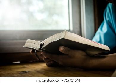 Hands of man praying