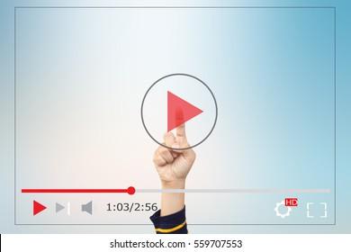 Hands man push start button on touch screen to run video clip
