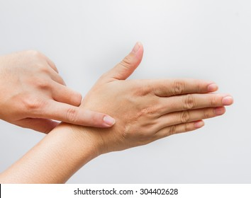 Hands of the man with scar isolated on white background.