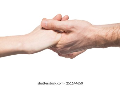 Hands of man and woman holding together, isolated on white background