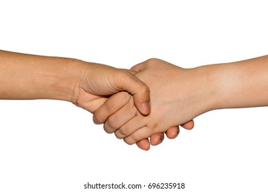 Hands of man and woman holding together. Shaking Hands teamwork concept.  isolated on white background. clipping path