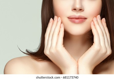 Hands with manicure on face. Lips woman portrat, beauty concept.