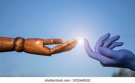 Hands in medical gloves. Hands concept. Help. Sky background. Hope. Sensual.