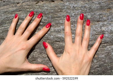 Hands modeled on the rock