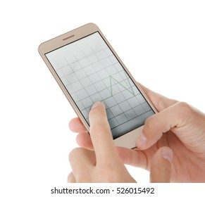 Hands with modern smart phone on white background