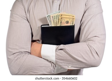 hands with money, dollars in notepad