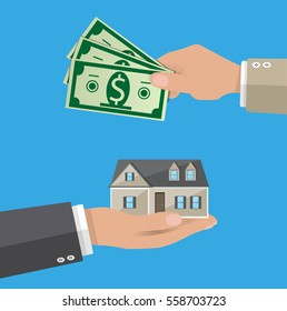 Hands with money and house. Real estate. illustration in flat style