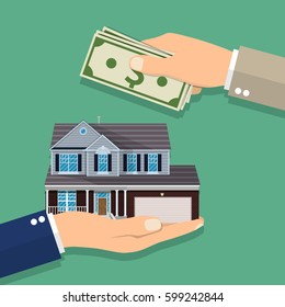 Hands with money and house. Real estate. illustration in flat style. Raster version.