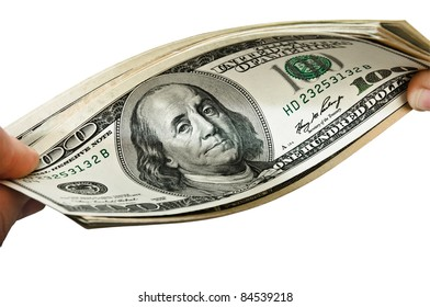 Hands with money isolated on the white background