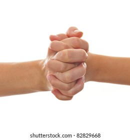 Hands of mother and child clasped isolated on white Background