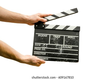 Hands with a movie clapperboard isolated on white background