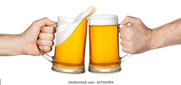 hands with mugs of beer toasting creating splash isolated on white background