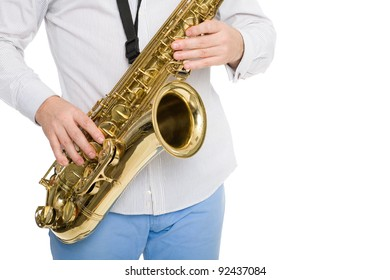 Hands musician playing the saxophone. Isolated on white.