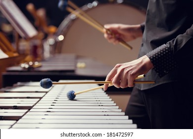 Hands of musician playing the vibraphone