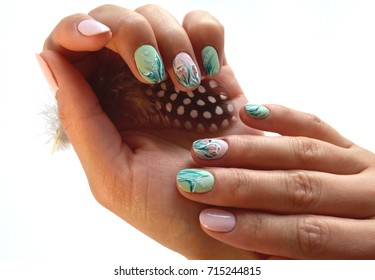 Hands with nail art manicure