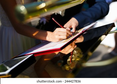 Hands of newlyweds of registration form on the wedding ceremony