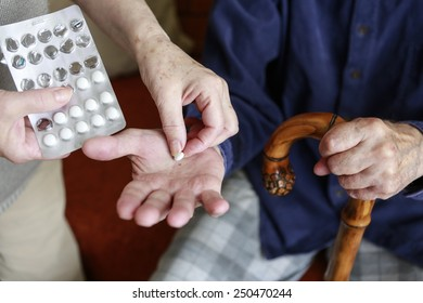 hands of an old caucasian man with medicaments old age and health ilustration