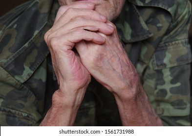 hands of an old man veteran. hands of an old soldier