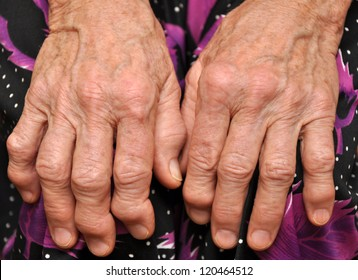 Hands of an old woman close-up