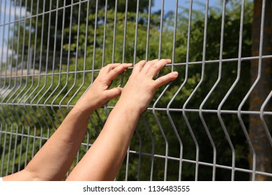 Hands on a net fence