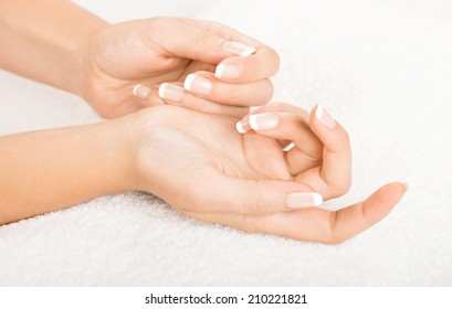 Hands on towel - Manicure, nails with french