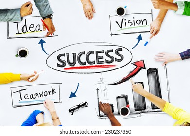 Hands on whiteboard with Success Concept