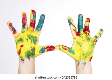 hands painted in colorful paint