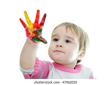 hands painted in colorful paints ready for hand prints