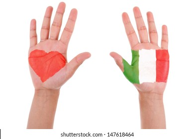 Hands with a painted heart and italian flag, i love italy concept, isolated on white background