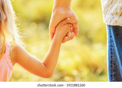 hands of parent and child outdoors in the park