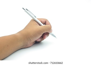 Hands with pen on white background.