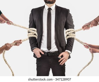 Hands of people pulling the rope on white background. Search employee concept