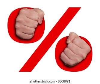 hands and a percentage symbol as handcuffs.