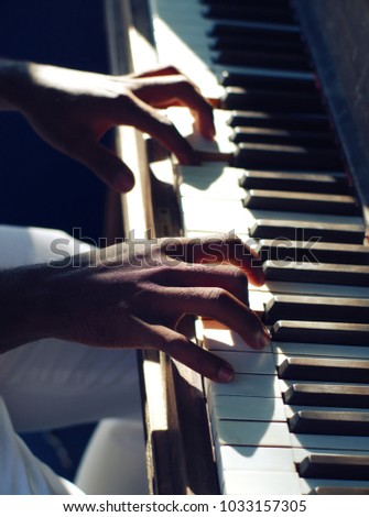 hands playig piano jazz keyboard practicing musical instrument music melody