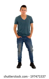 hands in pockets hispanic teen on white background