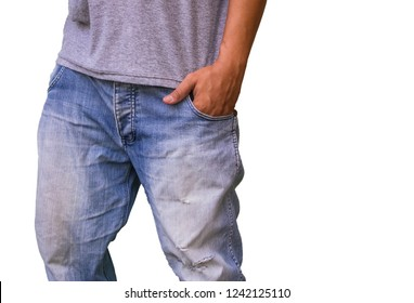 hands in pockets of their jeans, isolated on white background