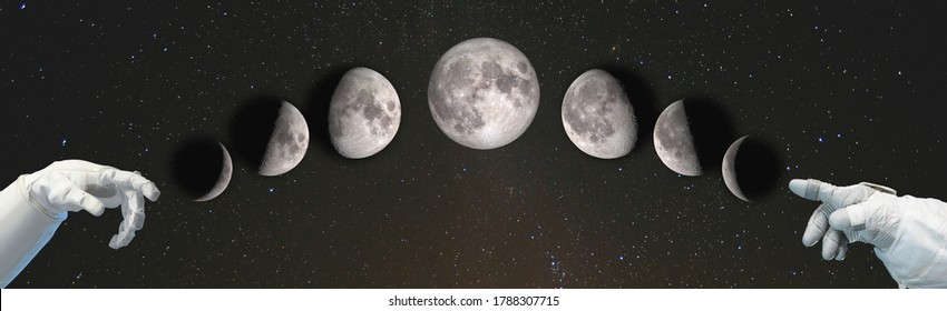 Hands point to the phases of the Moon: waxing crescent, first quarter, waxing gibbous, full moon, waning gibbous, third guarter, waning crescent, new moon. Elements of this image furnished by NASA.