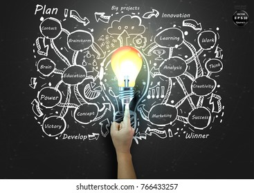 Hands pointing Light bulb - plan  Business - idea and concept Vector  illustration  Background.