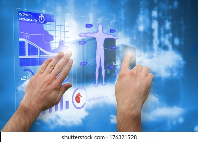 Hands pointing and presenting against cityscape on cloud
